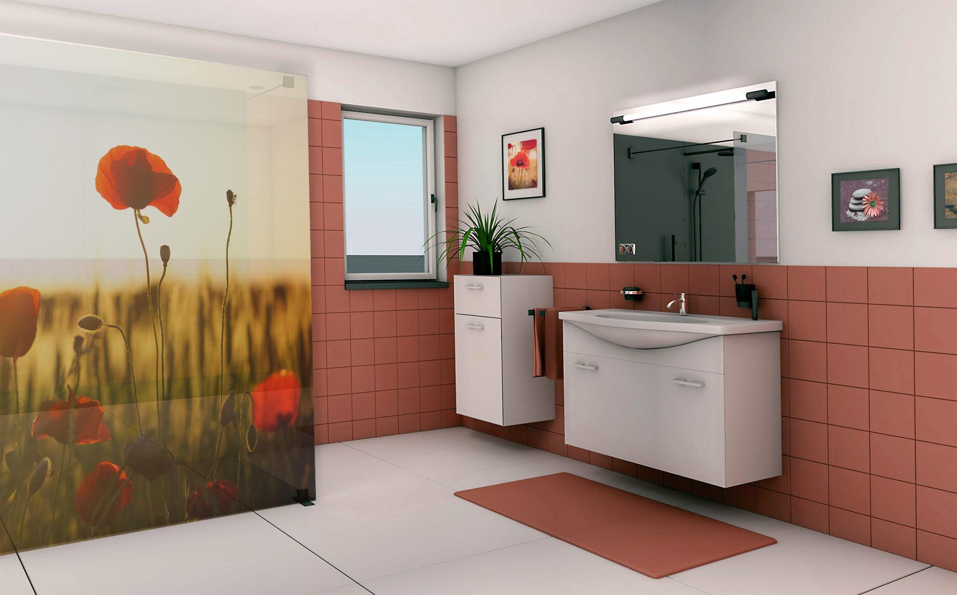 Nyomtatott fürdőszobai térelválasztó