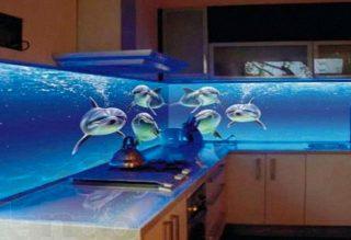 Delfin Mintás Nyomtatott Konyhai Hátfal