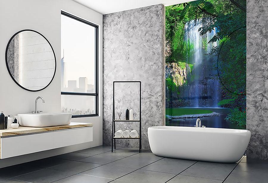 Nyomtatott fürdőszobai üvegfal
